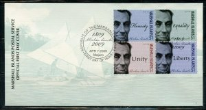 MARSHALL ISLANDS 2009 ABRAHAM LINCOLN SET FIRST DAY COVER