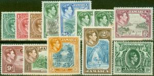 Jamaica 1938 set of 13 SG121-133 V.F Very Lightly Mtd Mint