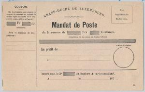 LUXEMBOURG  -  POSTAL HISTORY -  FORMULAR CARD  Postal Money Order
