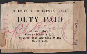 Soldier's Christmas Gift Duty Paid Label: Date Stamped December 3, 1921