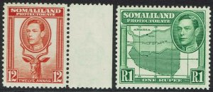 BRITISH SOMALILAND 1938 KGVI BUCK AND MAP 12A AND 1R MNH **
