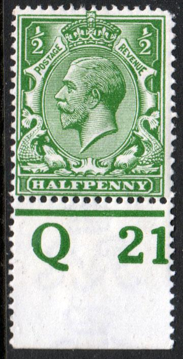 GB KGV 1912 0.5d Green SG351 Control Q21 Mint Hinged