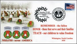20-301, 2020, Wreaths Across America, Event Cover, Pictorial Postmark, Christmas