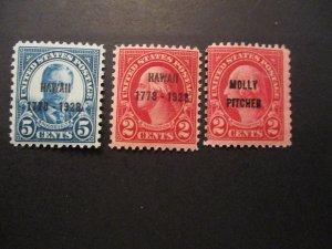 US Stamps S# 646-648, 3v set of overprints, MNH OG