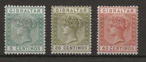 Gibraltar 3 Different MH VF 1889-95 SCV $30.75 (jr)