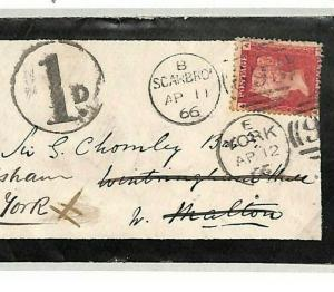 GB Cover YORK *1d* CHARGE MARK Forwarded 1866 SG.43 Scarborough {samwells}B75