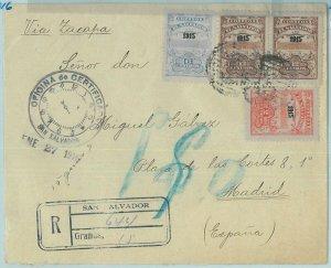 68765 - EL SALVADOR - Postal History -  REGISTERED COVER  to SPAIN - 1916