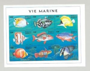 Mali #896 Fish 1v M/S of 9 Imperf Chromalin Proof