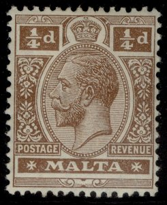 MALTA GV SG69, ¼d brown, M MINT.