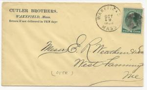 US AD COVER Cutler Brothers Wakefield, MA 1889