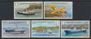 Guernsey  SG 240-244  SC# 227-231 MLH inter Island Transport   see details