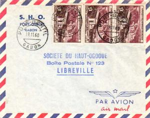 French Equatorial Africa 5F FIDES (3) 1960 Port-Gentil, Gabon Airmail to Libr...