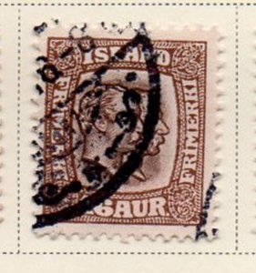 Iceland Sc 78 1907 16 aur brown 2 Kings stamp used