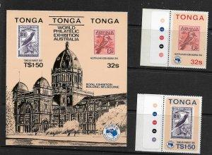TONGA, 588-589A, MNH,SS + 2 STAMPS, AUSIPEX '84