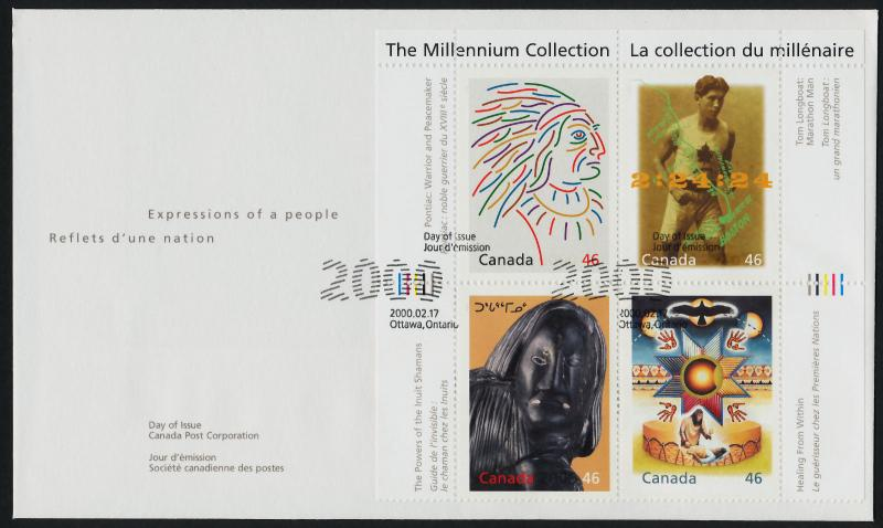 Canada 1826 on FDC - First Nations, Chief Pontiac, Tom Longboat, Inuit Shaman