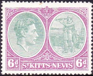 ST KITTS-NEVIS 1938 KGVI 6d Green & Bright Purple SG74 MH