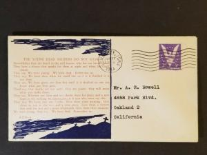 1944 Iowa City to Oakland California USA Dead Soldier Poem WWII Patriotic Cover