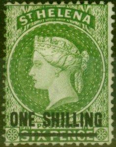 St Helena 1880 1s Yellow-Green SG30 Fine Mtd Mint