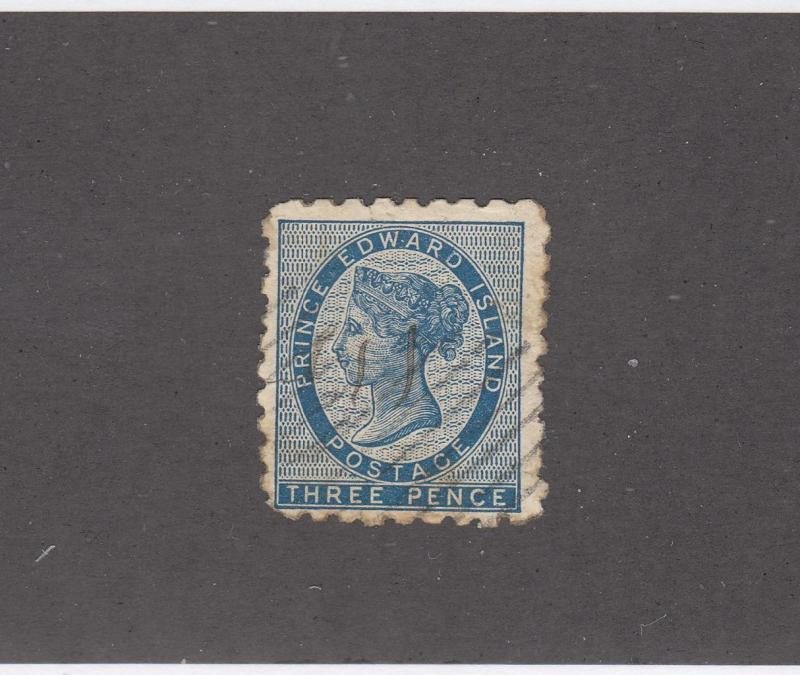 PRINCE EDWARD ISLAND # 2 3d BLUE LIGHT USED(Tiny Tear) CAT VALUE $600