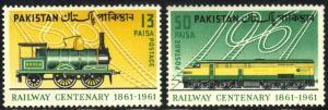 PAKISTAN SC# 157-58  **MNH** 1961 TRAINS  SEE SCAN