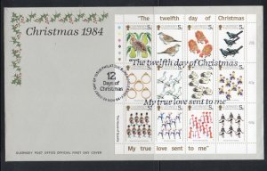 Guernsey Sc 307 1984 12 Days of Christmas stamp sheet on FDC