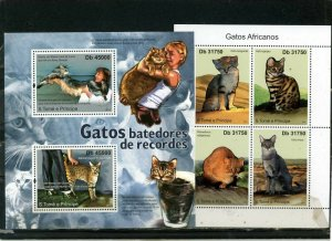 ST.THOMAS & PRINCE ISLANDS 2011 CATS 2 SHEETS OF 2 & 4 STAMPS MNH