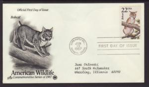 US Bobcat 1987 PCS Typed FDC BIN