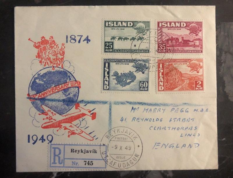 1949 Reykjavik Iceland First Day Cover FDC To England Universal Postal Union UPU