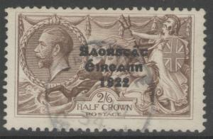 IRELAND SG86c 1927 2/6 CHOCOLATE BROWN WITH FLATE ACCENT ON A F.USED WITH CERT
