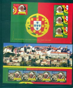 St. Kitts - Sc# 786-7. 2011 Visit Pope to Portugal. MNH Sheets. $16.65.