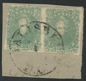 CSA Scott #3 Used Pair of Confederate Stamps on Piece Salisbury, NC w/ CSA Cert