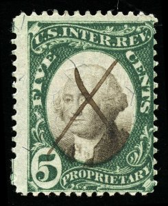 B242 U.S. Revenue Scott 5-cent proprietary, manuscript cancel, SCV = $175