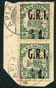 SAMOA-1914 ½d on 5pf Green Vertical Pair on piece, Upper stamp with no fraction