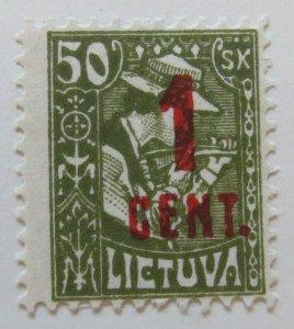 A11P5F29 Litauen Lituanie Lithuania 1922 Wmk Webbing surch 1c on 50sk MH*