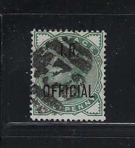 GREAT BRITAIN SCOTT #O2 1882-85 I.R. OFFICIAL 1/2 (PALE GREEN) - USED