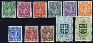 ST LUCIA King George VI 1949-50 Definitive Set to 48 Cents SG 146 to SG 156 MINT