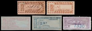 Colombia Scott F11-F12, F13, F17, F20 (1892-1904) Mint/Used H VF, CV $7.40 B