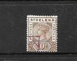 ST HELENA 1890 10d BROWN  QV FU SG 52