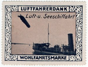 (I.B) Germany Cinderella : Pilot's Charity Stamp (Zeppelin)