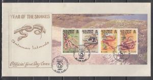 Solomon Is., Scott cat. 920a. Year of the Snake issue. First Day Cover.