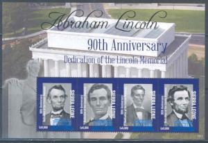 SIERRA LEONE 2012 LINCOLN MEMORIAL 90TH ANNIVERSARY OF DEDICATION SHEET