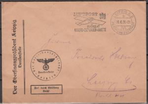 Germany - 30.6.1938 Metered air cover to Leipzig (5180)