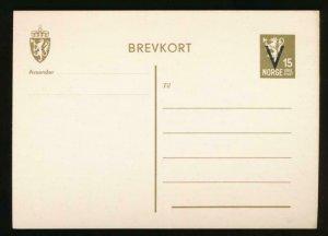 NORWAY Mi. P96 POSTAL STATIONERY POSTAL CARD 15o OLIVE