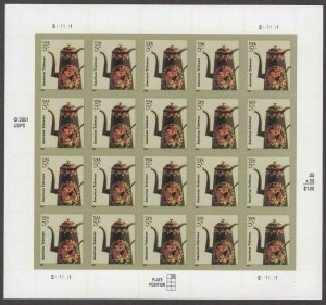 American Toleware Sheet of Twenty 5 Cent Postage Stamps Scott 3756