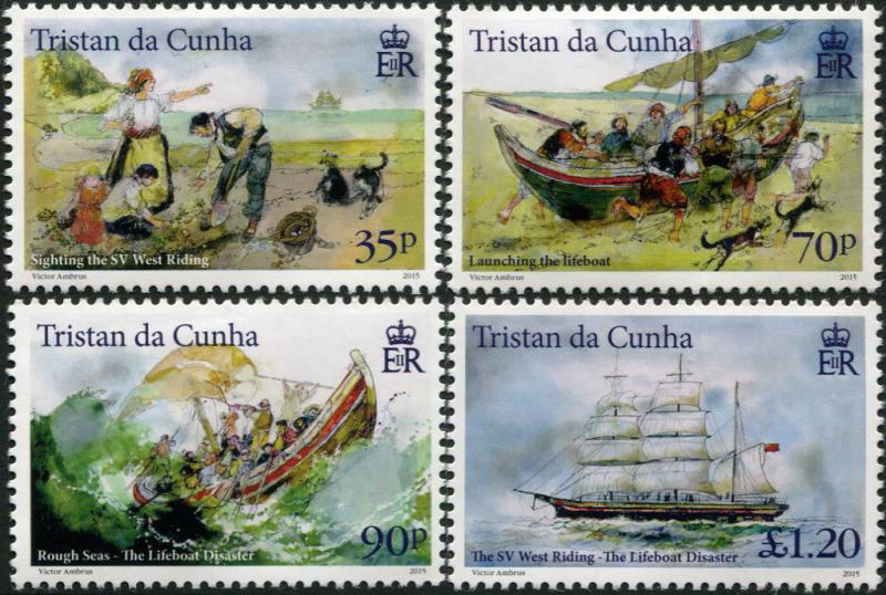 Tristan Da Cunha. 2015. The Lifeboat Disaster (MNH OG) Set of 4 stamps
