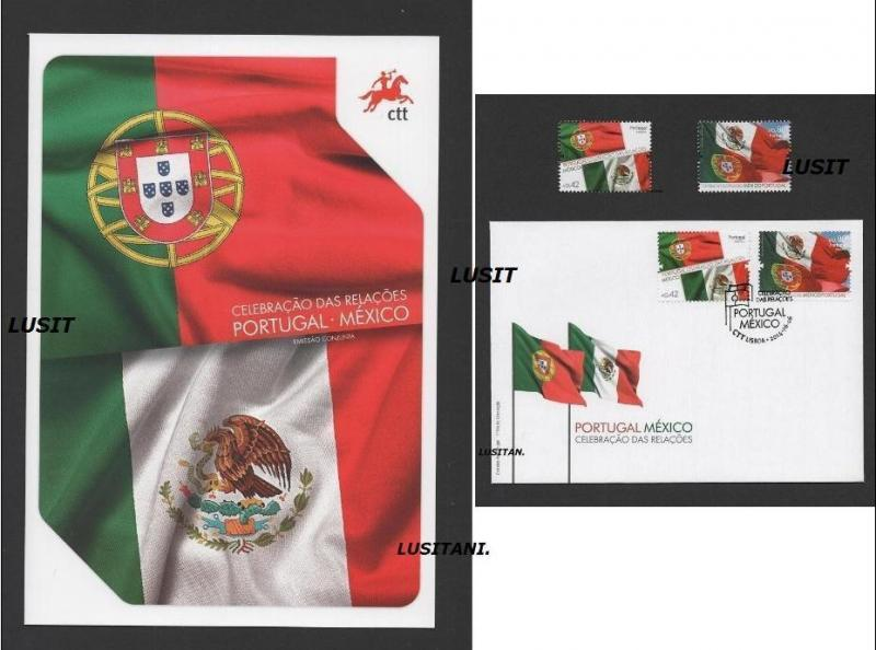 BROCHURE FDC stamps 2014 PORTUGAL MEXICO MEXIQUE RELATIONS JOINT ISSUE -PORTUGAL