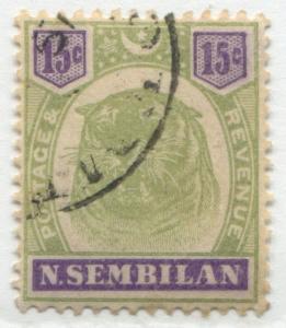 Malaya Negri Sembilan 1895 15 cents green & violet Tiger CDS used