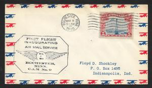 UNITED STATES First Flight Cover 1930 Rochester to Chicago