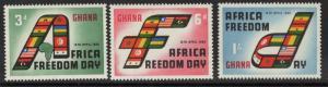 GHANA SG242/4 1960 AFRICA FREEDOM DAY MNH