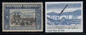 Southern Rhodesia, SG 57a, MLH, Cave Flaw variety